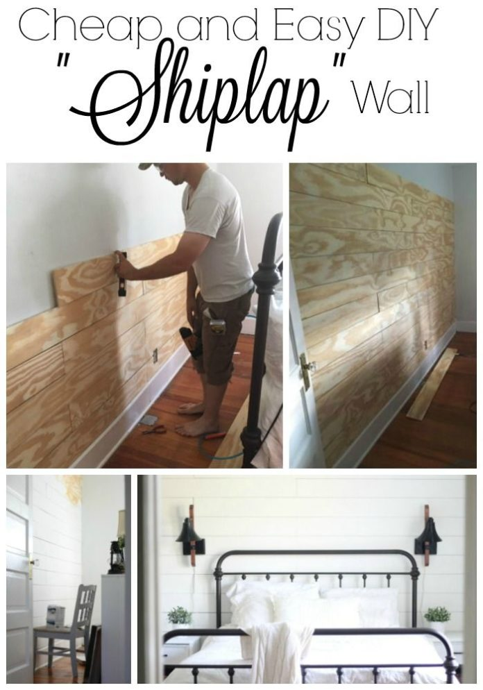 Diy home decor ideas cheap and easy diy shiplap wall for Cheap home accents and decor