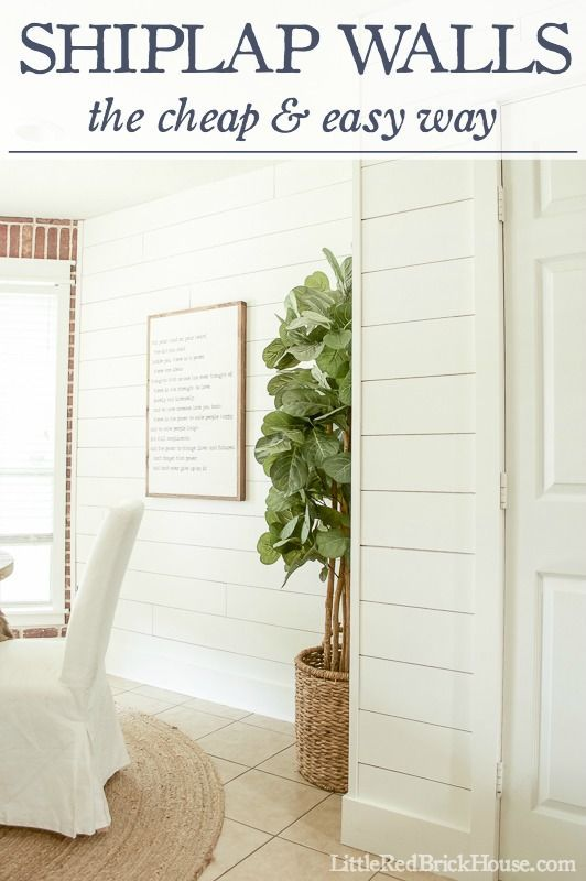 Diy home decor ideas shiplap walls the cheap easy way littleredbrickhou great - Diy wall decorations ...